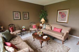 Home Staging color choices:Brown and Green…and red!